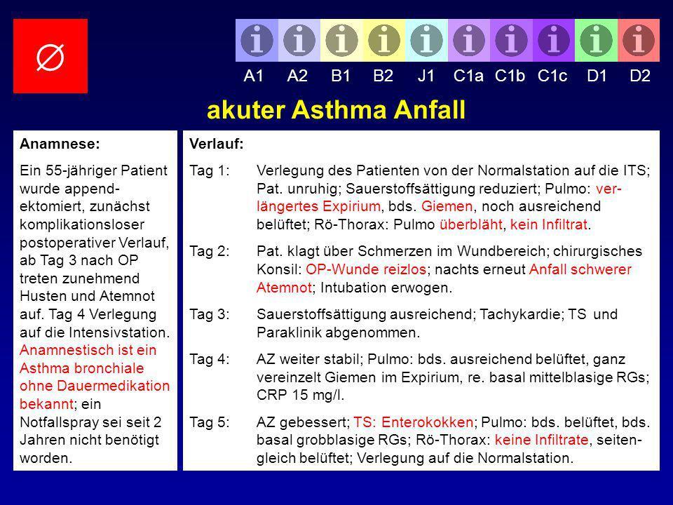  akuter Asthma Anfall A1 A2 B1 B2 J1 C1a C1b C1c D1 D2 Anamnese: