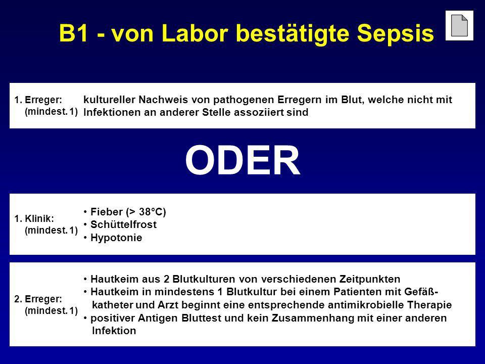 B1 - von Labor bestätigte Sepsis