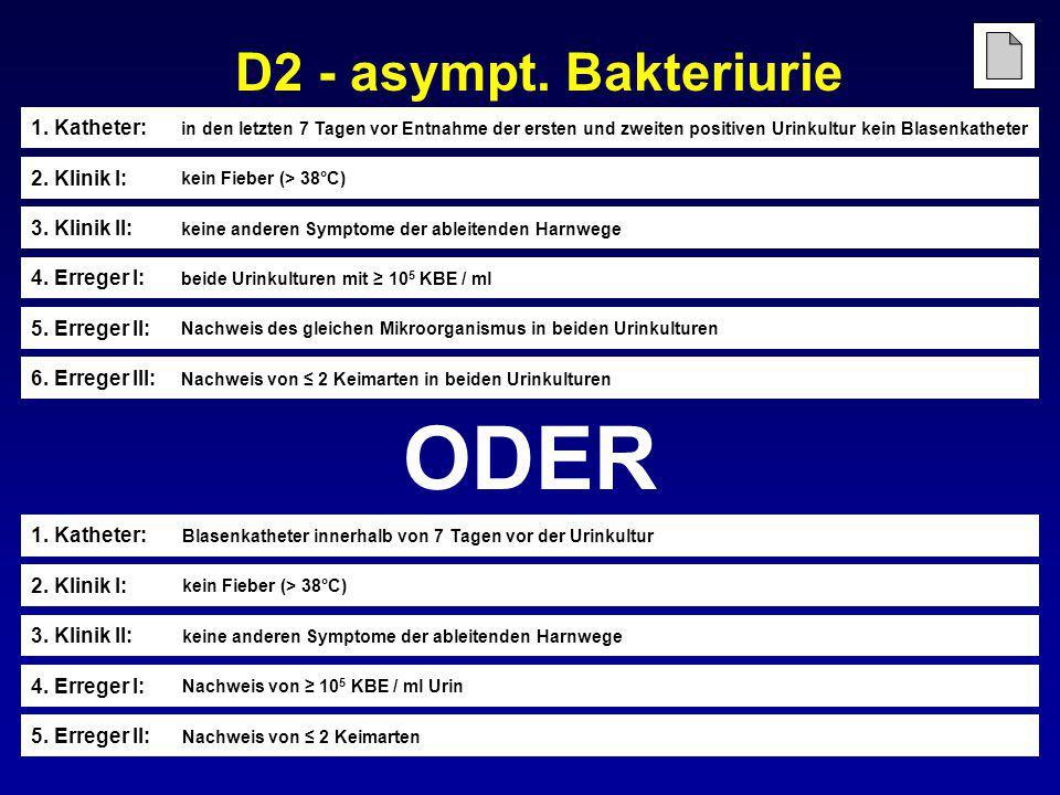 ODER D2 - asympt. Bakteriurie 1. Katheter: 2. Klinik I: 3. Klinik II: