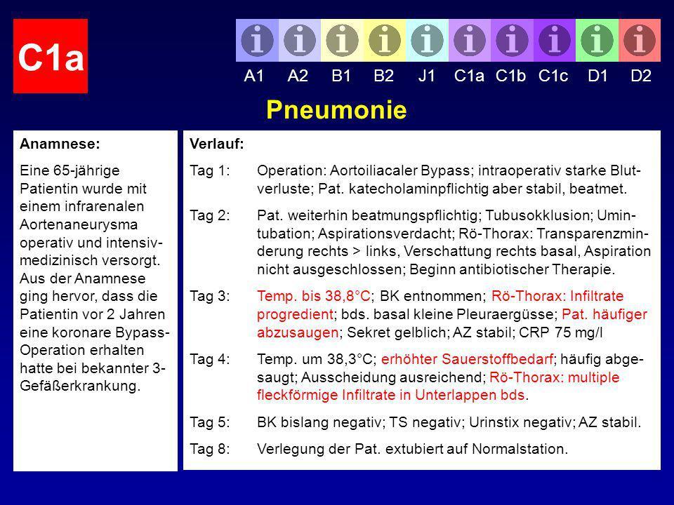 C1a Pneumonie A1 A2 B1 B2 J1 C1a C1b C1c D1 D2 Anamnese: