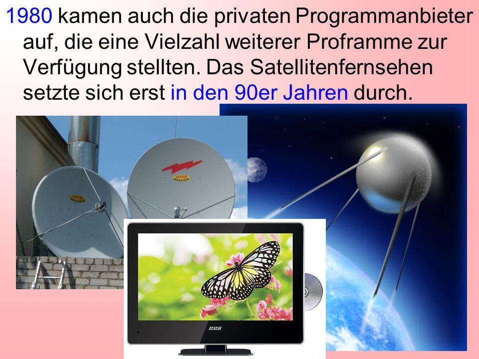 1980 kamen auch die privaten Programmanbieter auf, die eine Vielzahl weiterer Proframme zur Verfügung stellten.