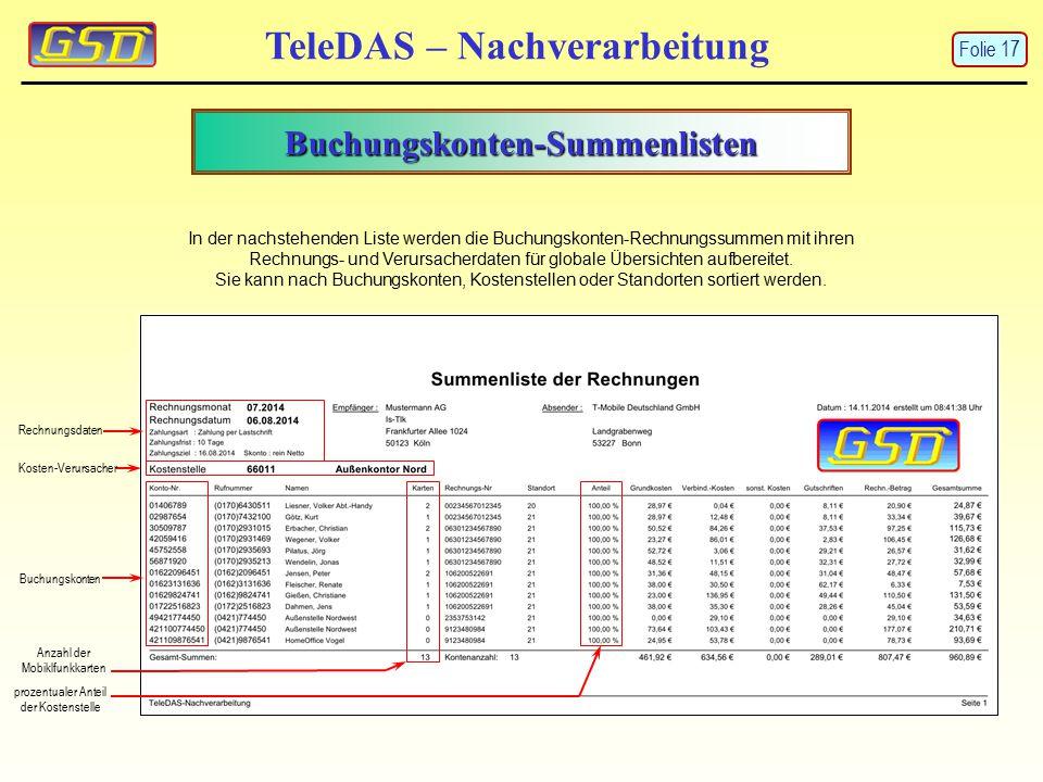 Buchungskonten-Summenlisten