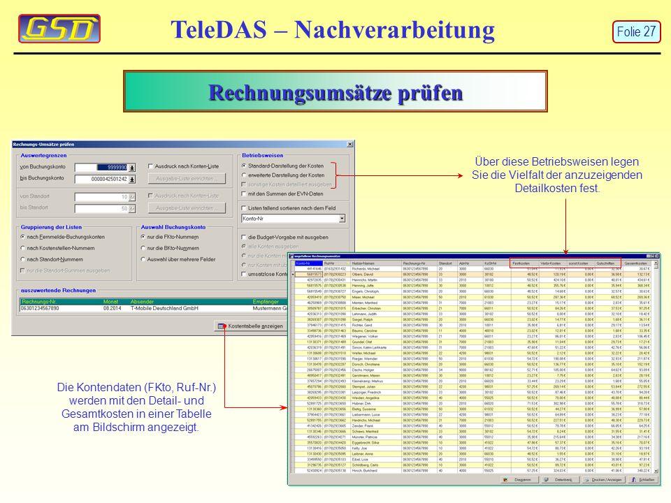 TeleDAS – Nachverarbeitung Rechnungsumsätze prüfen