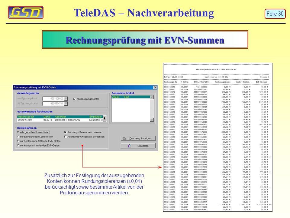 Rechnungsprüfung mit EVN-Summen