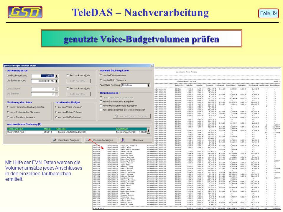 genutzte Voice-Budgetvolumen prüfen