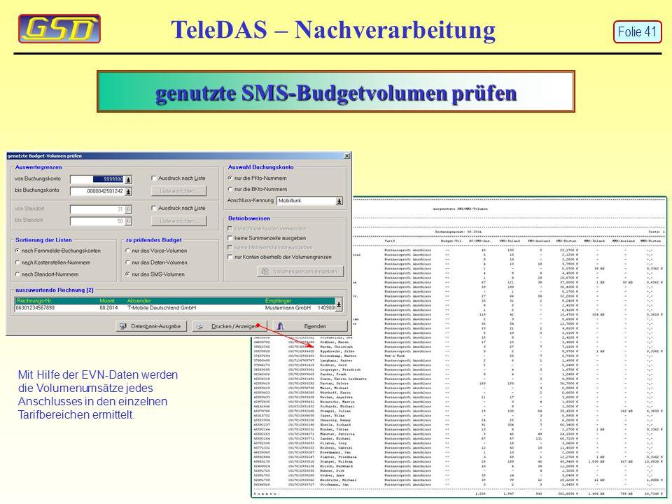 genutzte SMS-Budgetvolumen prüfen