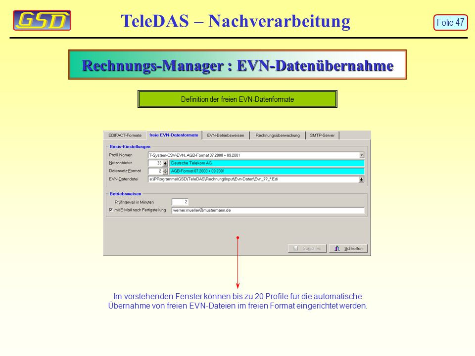 Rechnungs-Manager : EVN-Datenübernahme