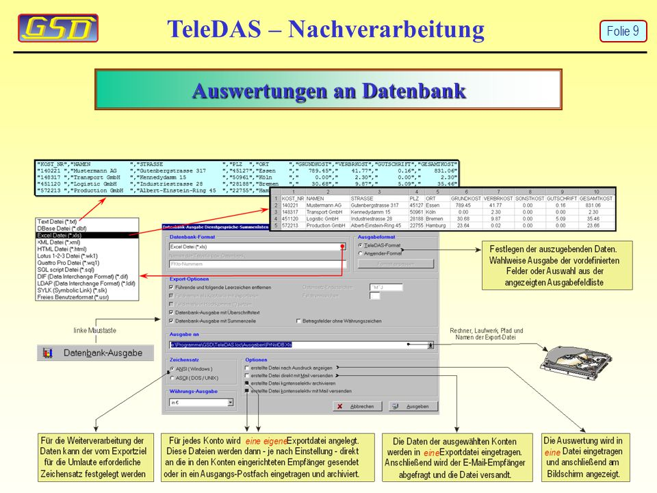 Auswertungen an Datenbank