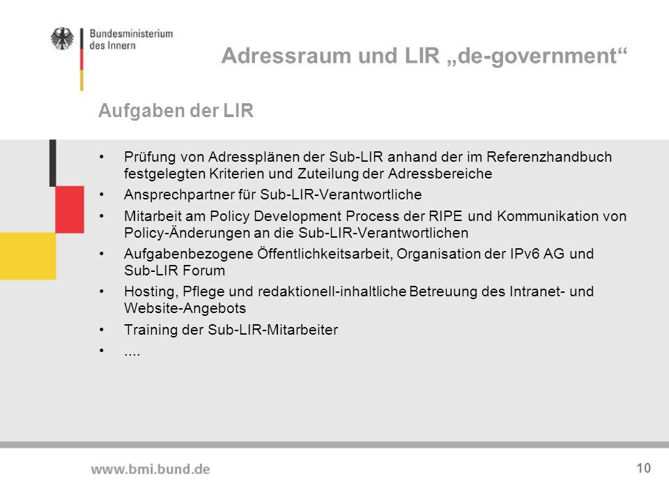 """Adressraum und LIR """"de-government"""