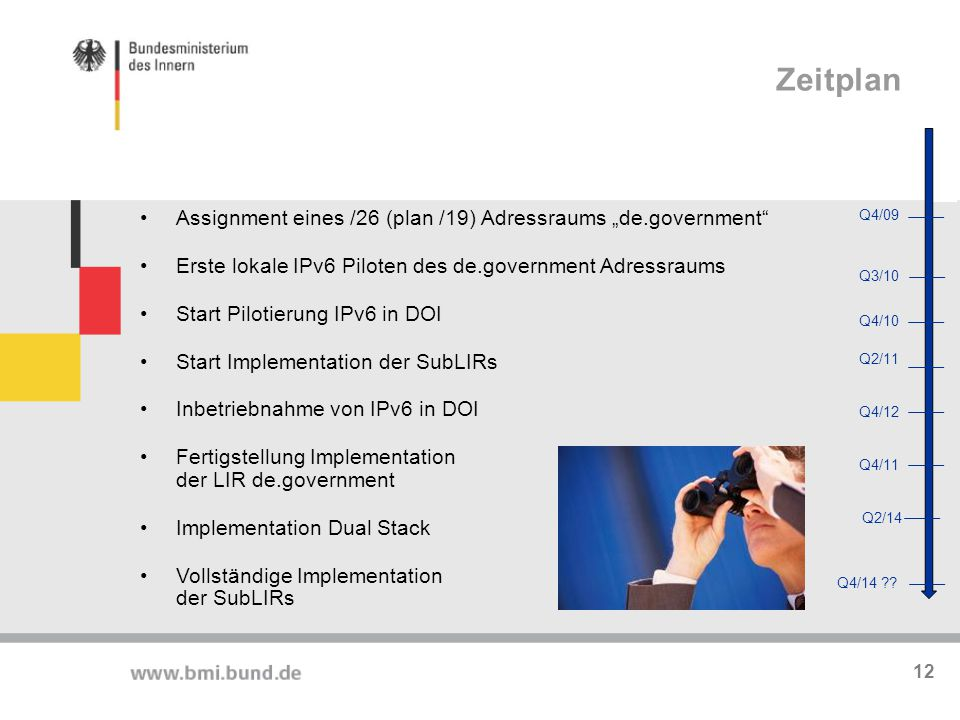 "Zeitplan Assignment eines /26 (plan /19) Adressraums ""de.government"