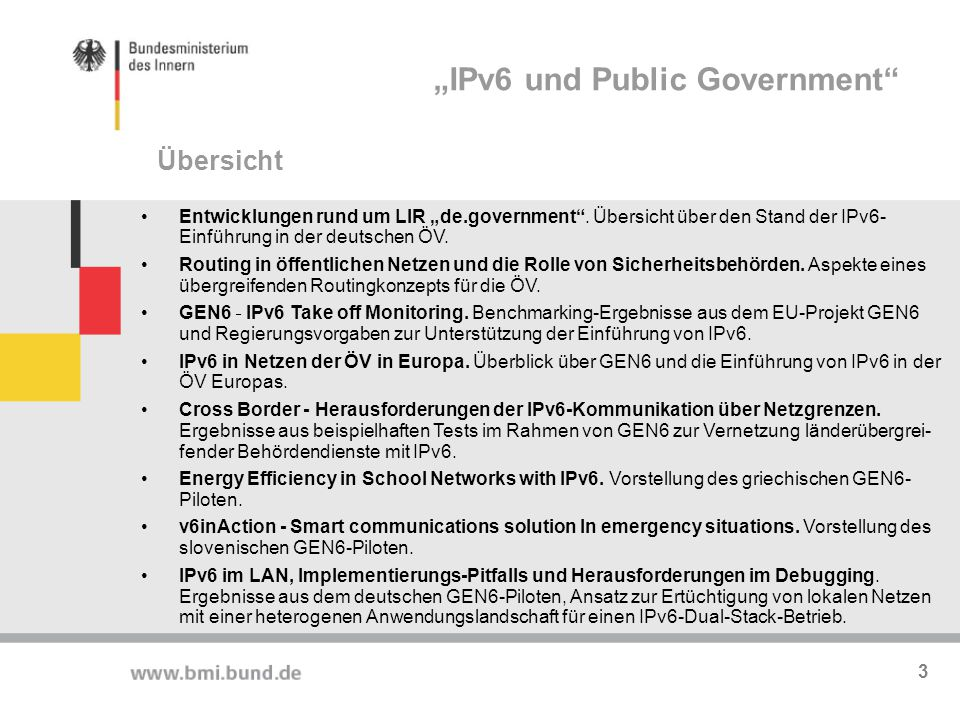 """IPv6 und Public Government"