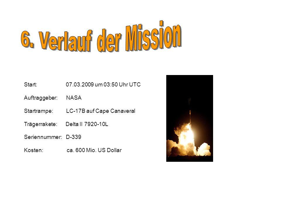6. Verlauf der Mission Start: 07.03.2009 um 03:50 Uhr UTC