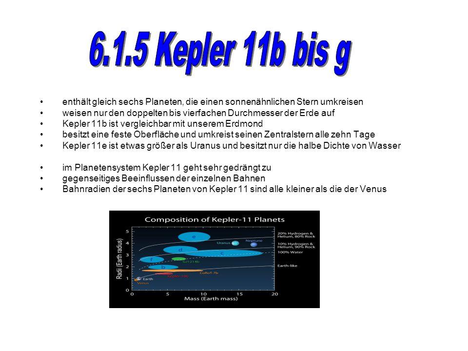 6.1.5 Kepler 11b bis g enthält gleich sechs Planeten, die einen sonnenähnlichen Stern umkreisen.