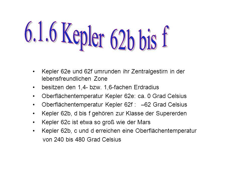6.1.6 Kepler 62b bis f Kepler 62e und 62f umrunden ihr Zentralgestirn in der lebensfreundlichen Zone.