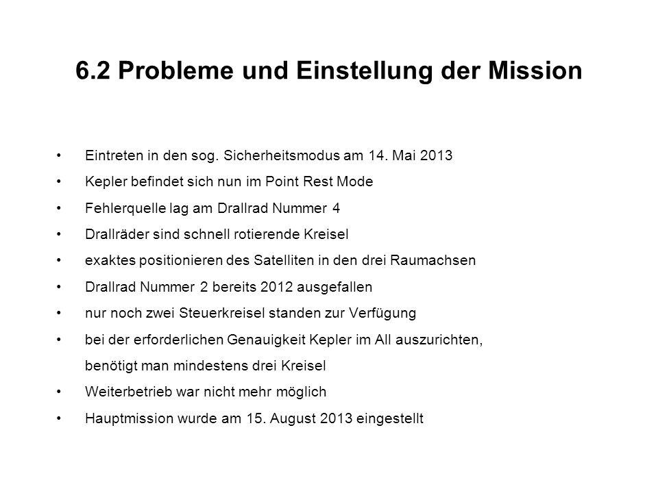 6.2 Probleme und Einstellung der Mission