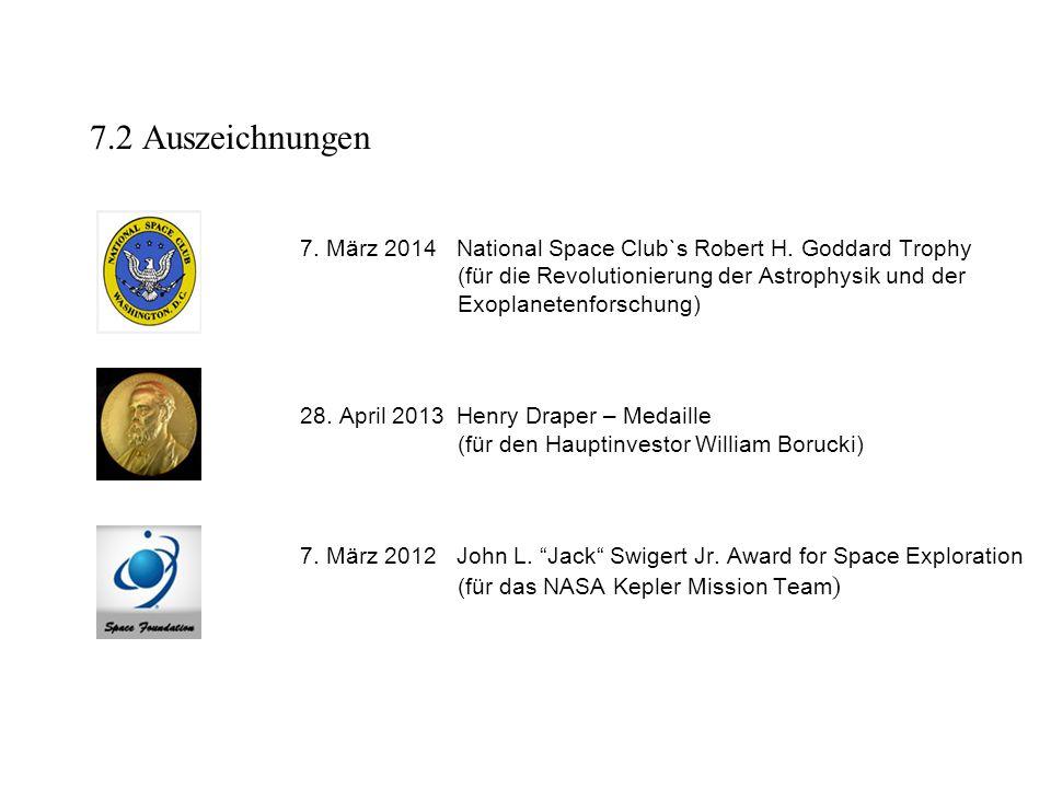 7.2 Auszeichnungen 7. März 2014 National Space Club`s Robert H. Goddard Trophy. (für die Revolutionierung der Astrophysik und der.
