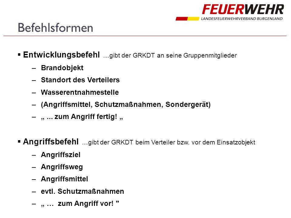 Befehlsformen Entwicklungsbefehl …gibt der GRKDT an seine Gruppenmitglieder. Brandobjekt. Standort des Verteilers.