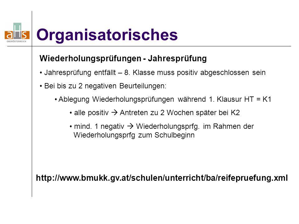 Organisatorisches Wiederholungsprüfungen - Jahresprüfung