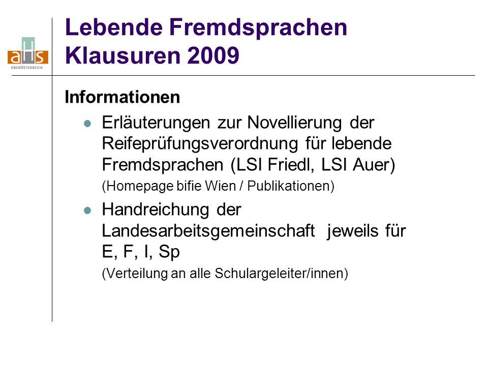 Lebende Fremdsprachen Klausuren 2009