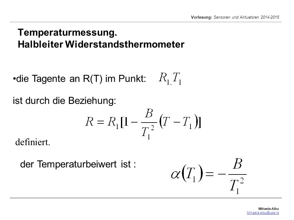 Temperaturmessung. Halbleiter Widerstandsthermometer