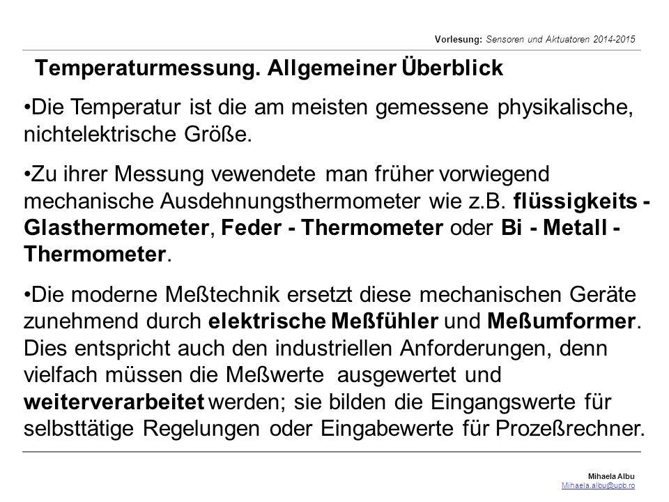 Temperaturmessung. Allgemeiner Überblick