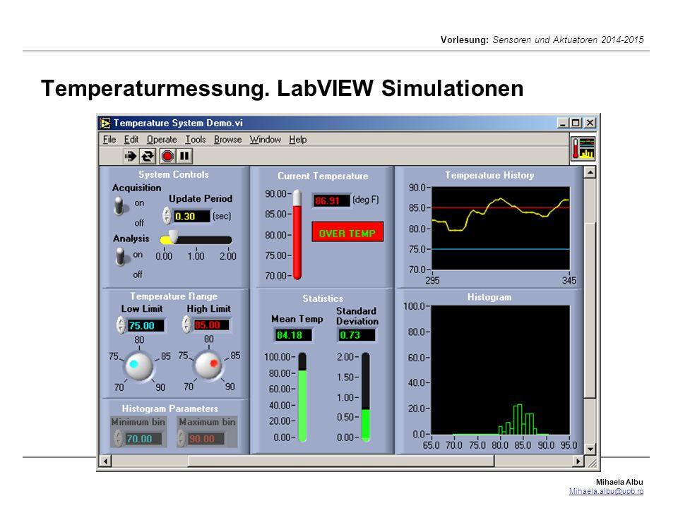 Temperaturmessung. LabVIEW Simulationen