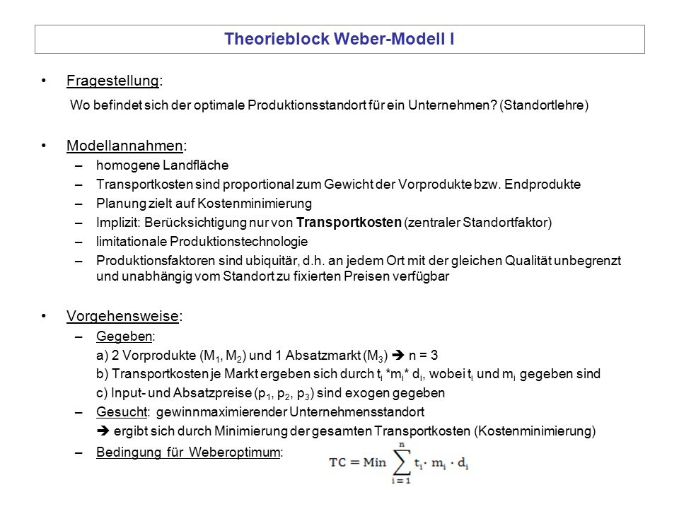 Theorieblock Weber-Modell I
