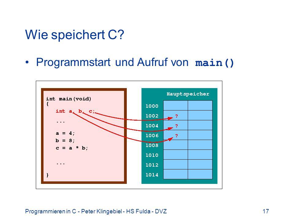 Wie speichert C Programmstart und Aufruf von main()