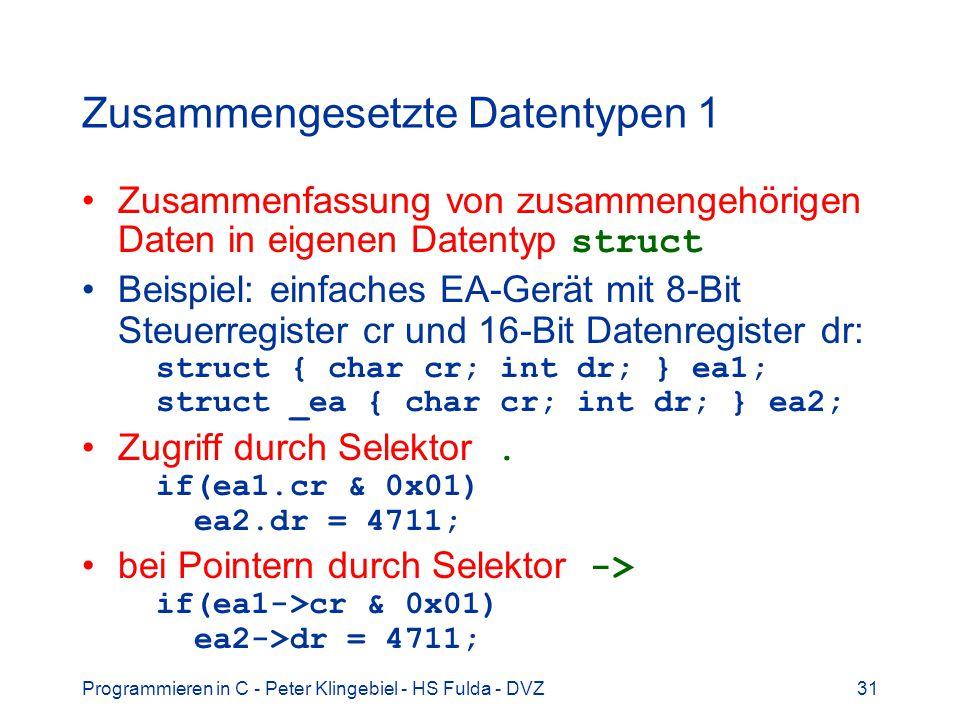 Zusammengesetzte Datentypen 1