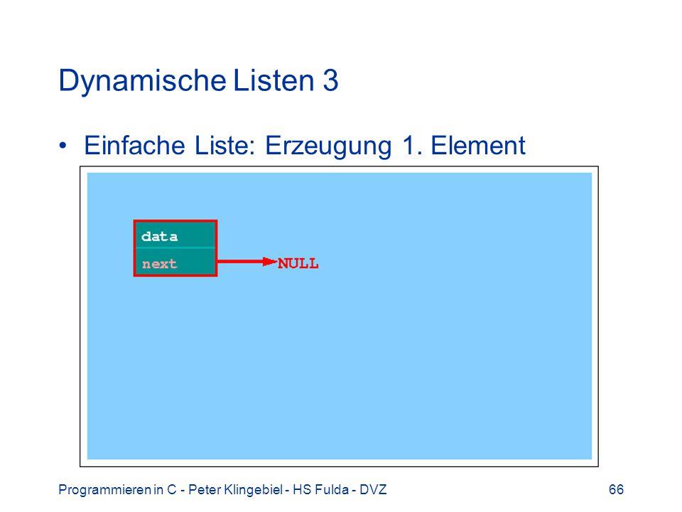Dynamische Listen 3 Einfache Liste: Erzeugung 1. Element