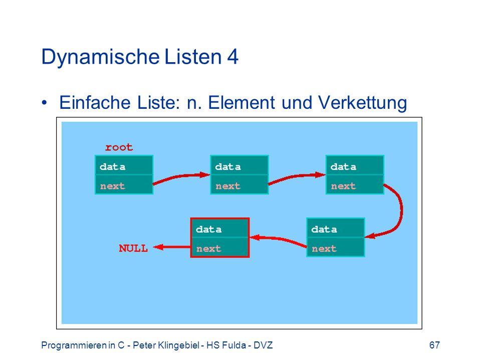 Dynamische Listen 4 Einfache Liste: n. Element und Verkettung