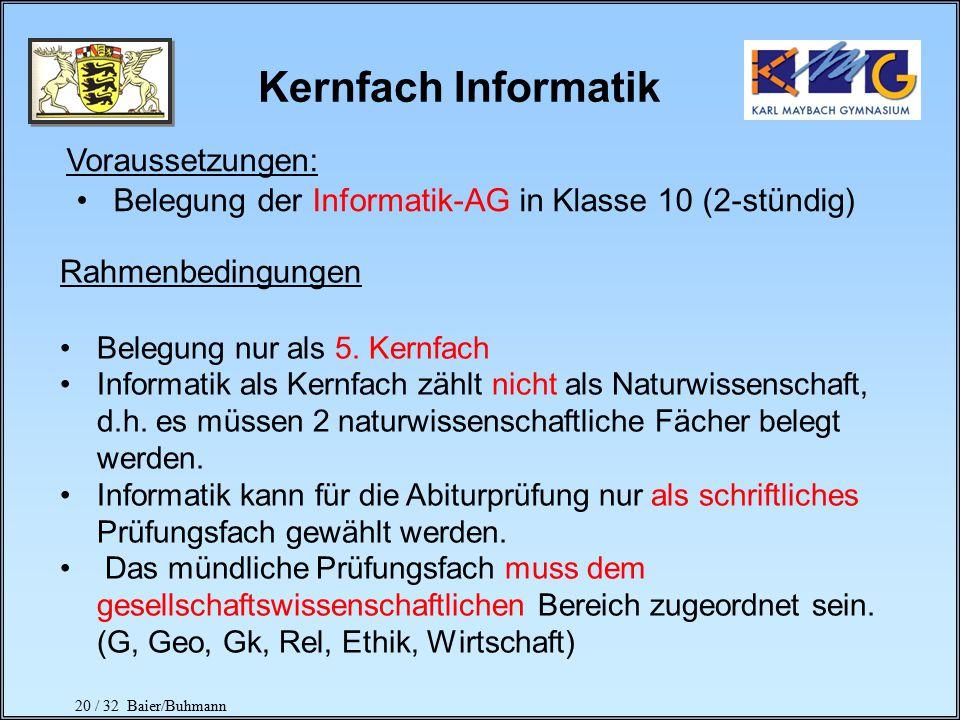 Kernfach Informatik Voraussetzungen:
