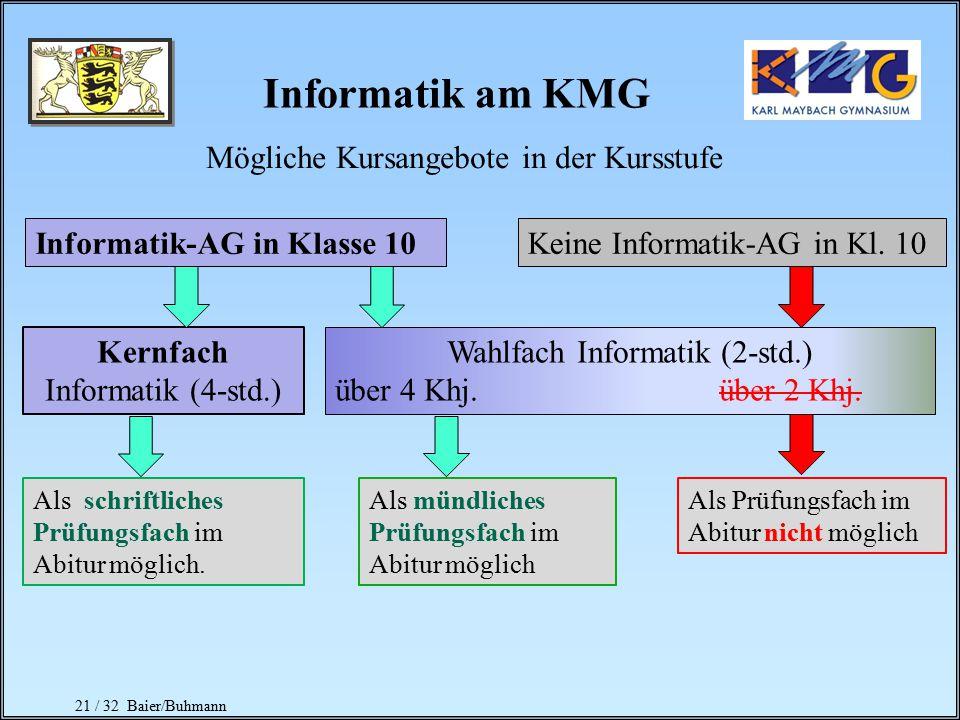Informatik am KMG Mögliche Kursangebote in der Kursstufe