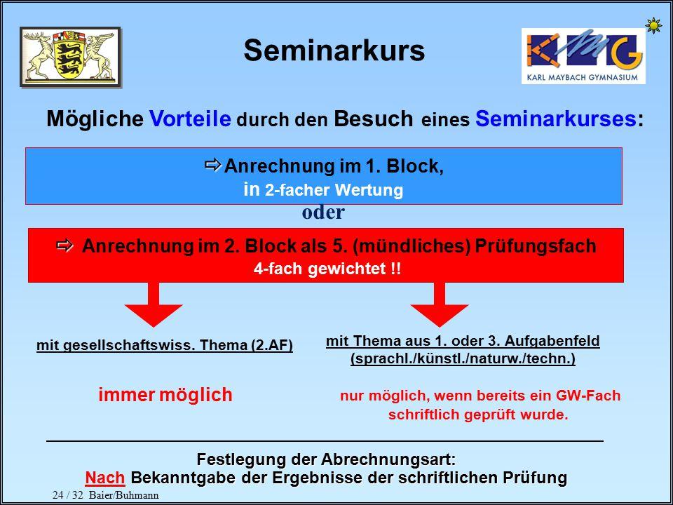 Seminarkurs Mögliche Vorteile durch den Besuch eines Seminarkurses: