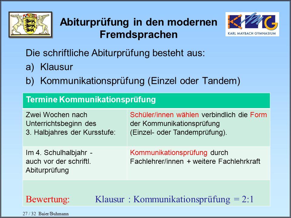 Abiturprüfung in den modernen Fremdsprachen