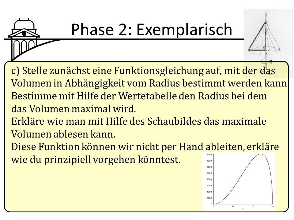Phase 2: Exemplarisch c) Stelle zunächst eine Funktionsgleichung auf, mit der das. Volumen in Abhängigkeit vom Radius bestimmt werden kann.