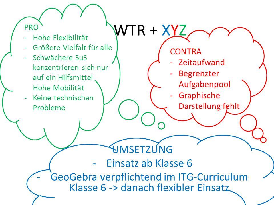WTR + XYZ UMSETZUNG Einsatz ab Klasse 6