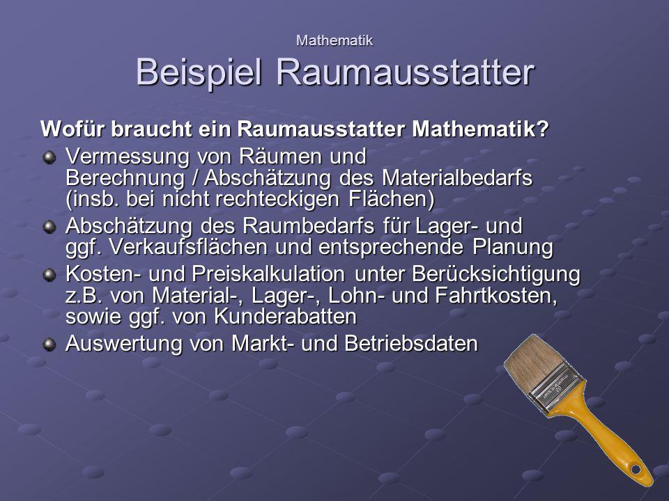 Mathematik Beispiel Raumausstatter