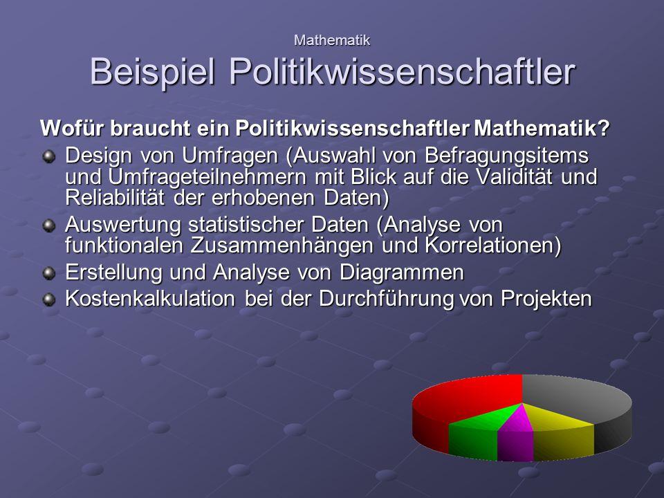 Mathematik Beispiel Politikwissenschaftler