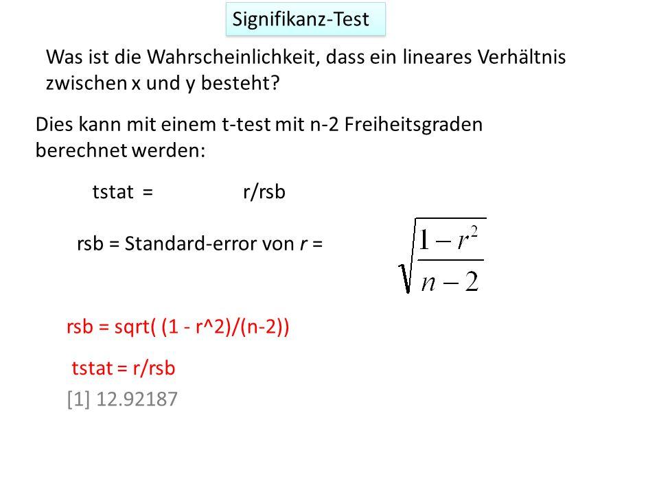 Signifikanz-Test Was ist die Wahrscheinlichkeit, dass ein lineares Verhältnis zwischen x und y besteht