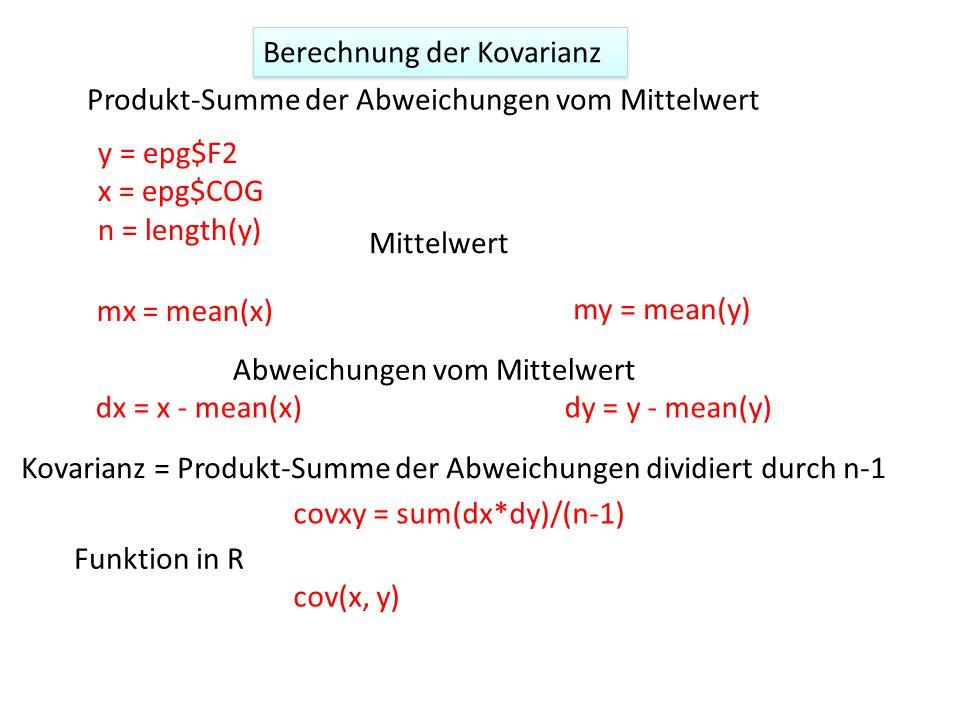 Berechnung der Kovarianz