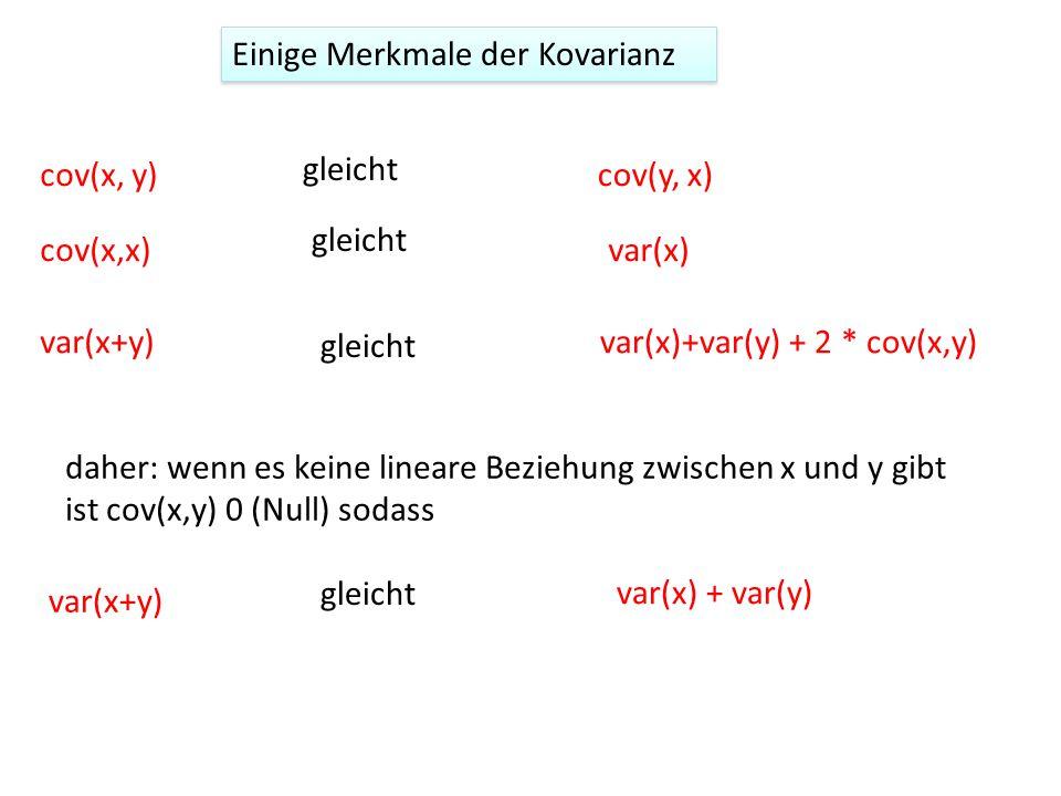 Einige Merkmale der Kovarianz