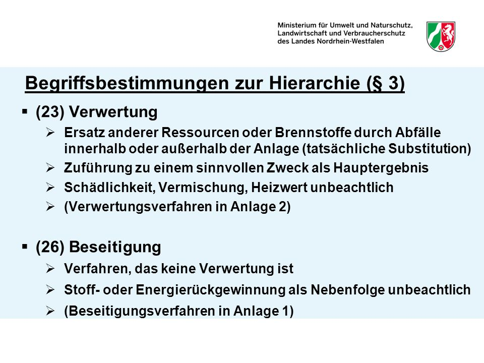 Begriffsbestimmungen zur Hierarchie (§ 3)