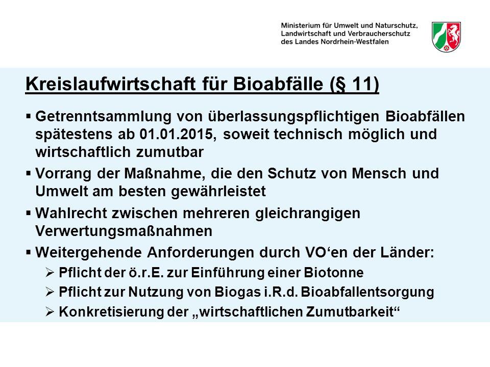Kreislaufwirtschaft für Bioabfälle (§ 11)