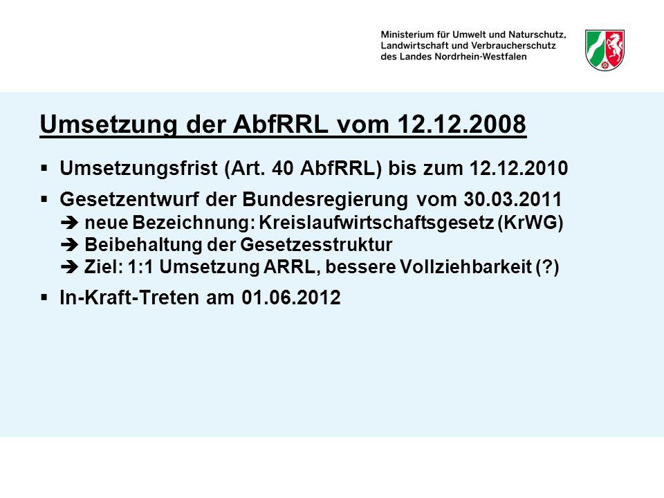 Umsetzung der AbfRRL vom 12.12.2008