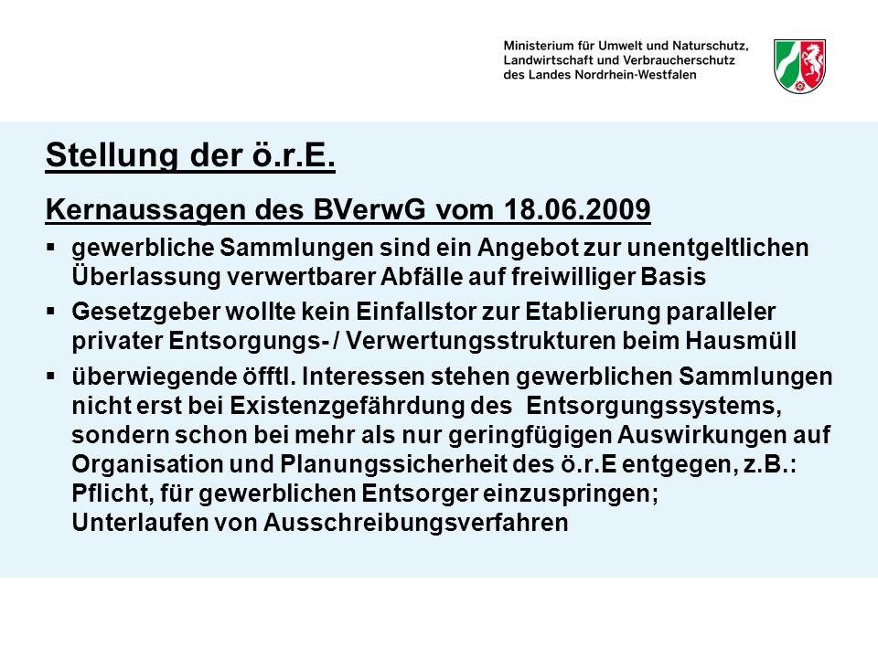 Stellung der ö.r.E. Kernaussagen des BVerwG vom 18.06.2009