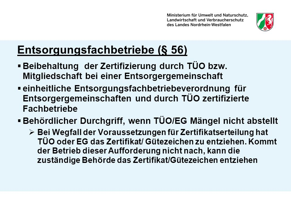 Entsorgungsfachbetriebe (§ 56)