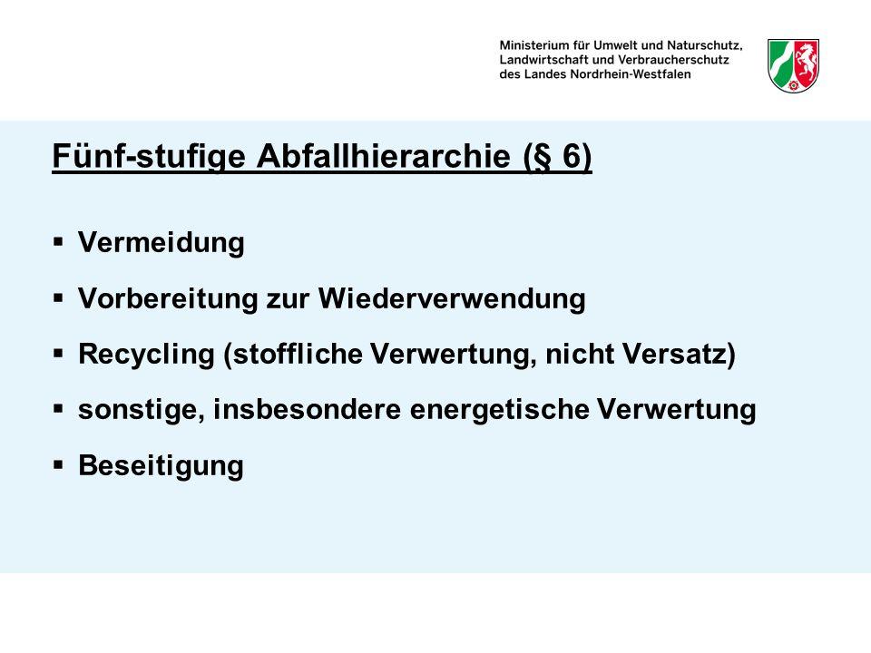 Fünf-stufige Abfallhierarchie (§ 6)