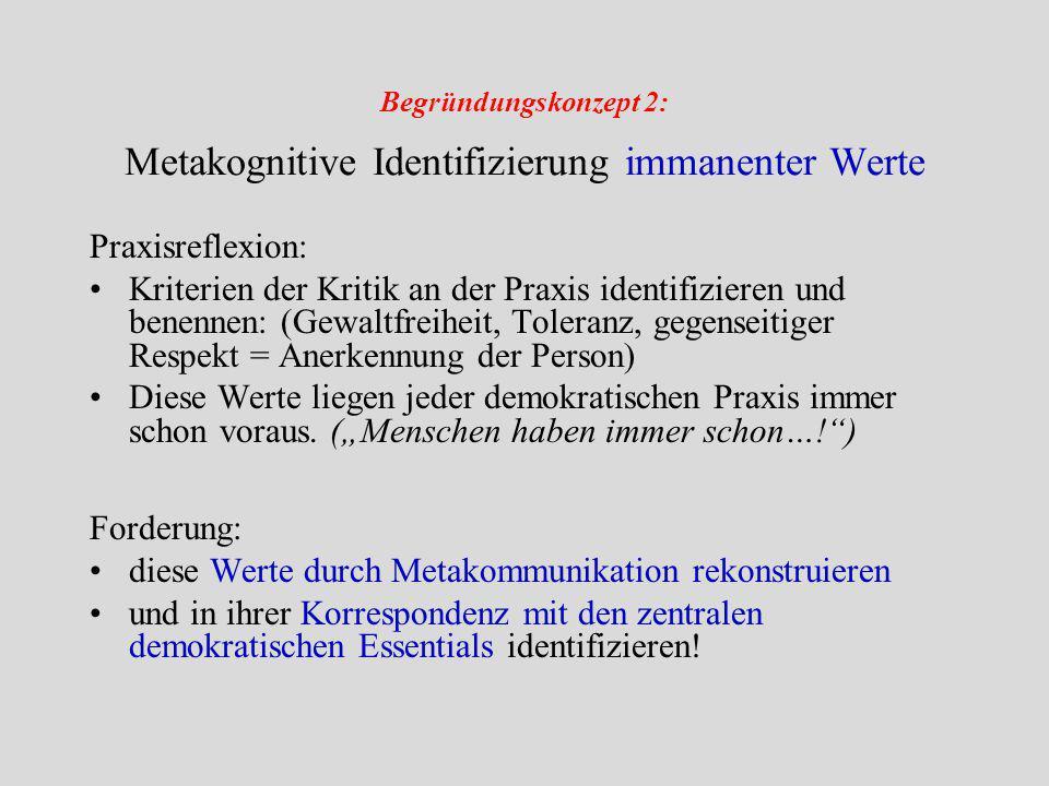 Begründungskonzept 2: Metakognitive Identifizierung immanenter Werte