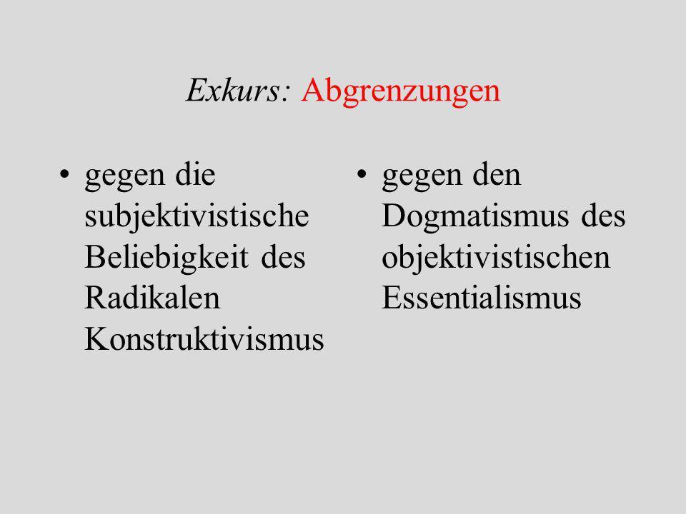 Exkurs: Abgrenzungen gegen die subjektivistische Beliebigkeit des Radikalen Konstruktivismus.